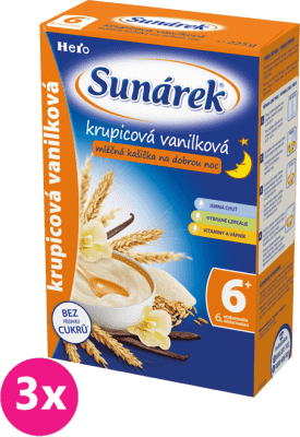 3x SUNÁREK Krupicová mliečna kašička s vanilkou na dobrú noc (225 g)