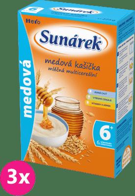 3x SUNÁREK Medová kašička mliečna (225 g)