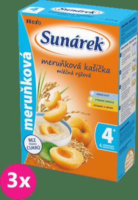 3x SUNÁREK Marhuľová kašička mliečna (225 g)