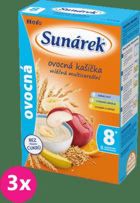 3x SUNÁREK Ovocná kašička (225 g) - mliečna kaša