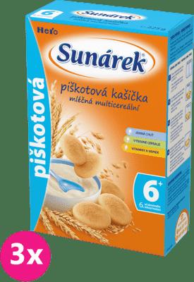 3x SUNÁREK Piškotová kašička (225 g) - mléčná kaše