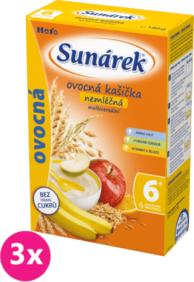 3x SUNÁREK Ovocná kaša nemliečna s 8 cereáliami (180 g)