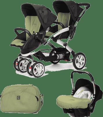 CASUALPLAY Set kočík pre dvojičky Stwinner, 2 x autosedačka Baby 0plus a Bag 2015 – Grape