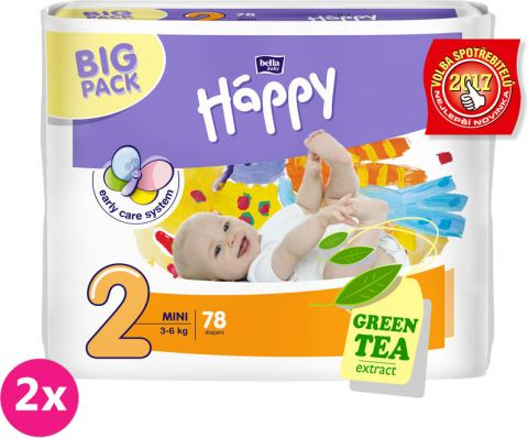 2x BELLA HAPPY Mini 2 (3-6kg) Big Pack 78ks – jednorázové plenky