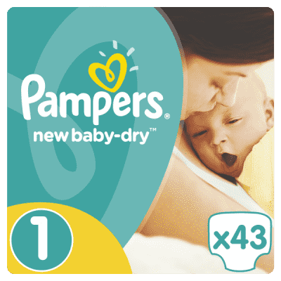 PAMPERS New Baby-Dry 1 NEWBORN 43 szt. (2-5 kg), VALUE PACK - pieluchy jednorazowe