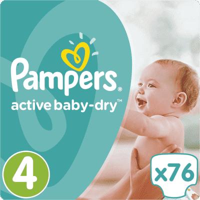 PAMPERS Active Baby 4 MAXI 76ks (7-14kg) GIANT PACK - jednorázové pleny
