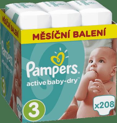 PAMPERS Active Baby 3 MIDI 208ks (5-9kg), MĚSÍČNÍ ZÁSOBA - jednorázové pleny
