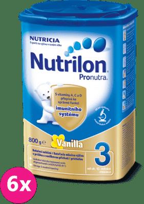 6x NUTRILON 3 ProNutra s príchuťou vanilky (800g) - dojčenské mlieko