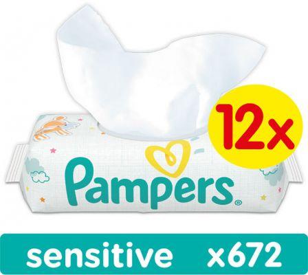 12x PAMPERS Sensitive 56 szt. bez wieczka - chusteczki nawilżane