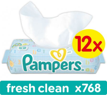 12x PAMPERS Fresh Clean 64 szt. - chusteczki nawilżane