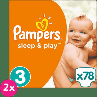 2x PAMPERS Sleep & Play 3 MIDI 78ks (4-9kg) JUMBO PACK - jednorázové plienky