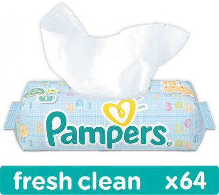 PAMPERS Fresh Clean S VÍČKEM 64 ks - vlhčené ubrousky