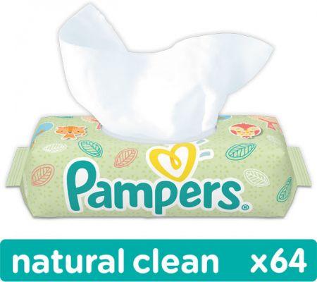PAMPERS Natural Clean S VIEČKOM 64 ks - vlhčené obrúsky