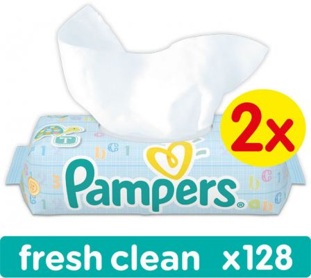 2x PAMPERS Fresh Clean S VÍČKEM 64 ks - vlhčené ubrousky