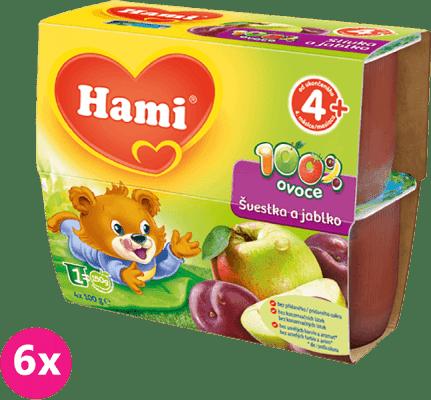 6x HAMI 100% ovocie slivka a jablko 4x100 g - ovocný príkrm
