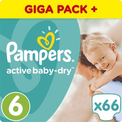 PAMPERS Active Baby 6 EXTRA LARGE 66ks (15+ kg) GIANT BOX PLUS - jednorázové pleny