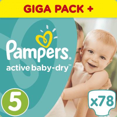 PAMPERS Active Baby 5 JUNIOR 78ks (11-18 kg) GIANT BOX PLUS - jednorázové pleny