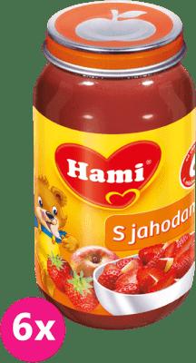 6x HAMI s jahodami bez cukru (200 g) - ovocný příkrm
