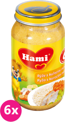 6x HAMI ryža s kuracím mäsom 200g - mäsovo-zeleninový príkrm