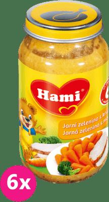 6x HAMI jarná zelenina s morkou 200g - mäsovo-zeleninový príkrm