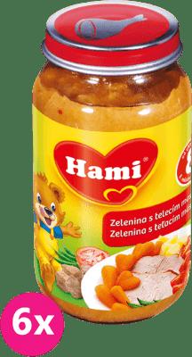 6x HAMI zelenina s telecím masem (200 g) - maso-zeleninový příkrm
