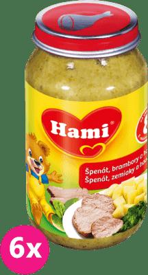 6x HAMI špenát , zemiaky a hovädzie 200g - mäsovo-zeleninový príkrm