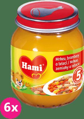 6x HAMI mrkev, brambor a telecí (125 g) - maso-zeleninový příkrm