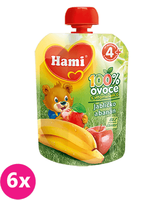 6x HAMI Ovocná kapsička Jabĺčko Banán 90 g