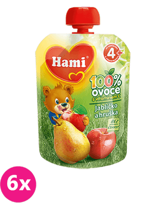 6x HAMI Ovocná kapsička Jabĺčko Hruška 90 g