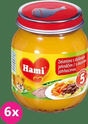 6x HAMI zelenina s dušeným jehněčím (125 g) - maso-zeleninový příkrm