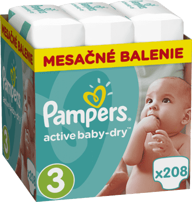 PAMPERS Active Baby 3 MIDI 208ks (5-9kg), MESAČNÁ ZÁSOBA - jednorazové plienky