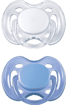 AVENT Cumlík Sensitive 2ks (silikón) 0-6 m, modrý+biely
