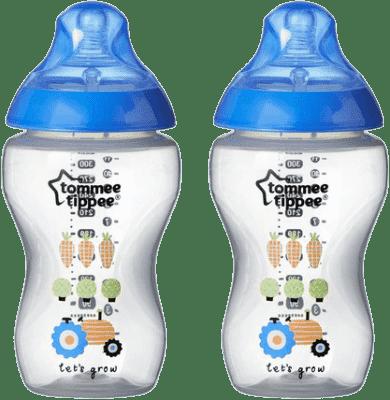 TOMMEE TIPPEE butelka dekorowana - 2 szt. 340 ml, 3+m, niebieska