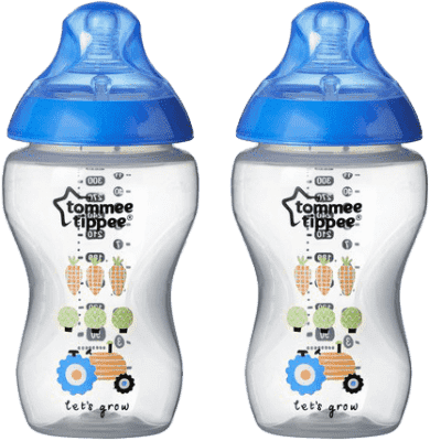 TOMMEE TIPPEE Dojčenská fľaša s obrázkami C2N, 2 ks, 340ml, 3 + m-modrá