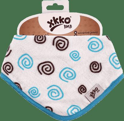 KIKKO Bambusový slintáček/šátek Spirals&Bubbles (1 ks) – cyan spirals