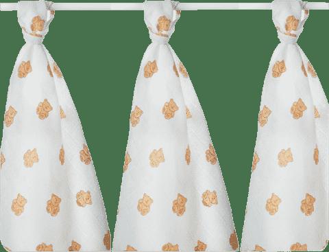 KIKKO Bavlněné pleny Lux 80x80 (3 ks) s potiskem – medvídci