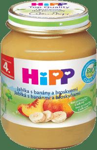 HIPP Jablká s banánmi a broskyňami (125 g) - ovocný príkrm