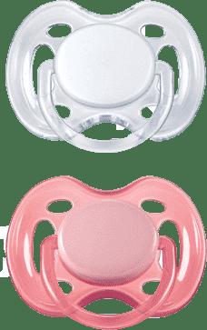 AVENT Dudlík sensitive, 2 ks (0 - 6  m) – růžový a bílý