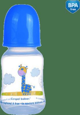 CANPOL Babies Láhev s potiskem SAFARI 120 ml 0% BPA- tmavě modrá