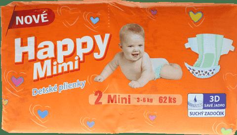 HAPPY MIMI dětské pleny Standard Mini 62 ks
