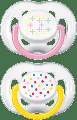 AVENT Ružový + žltý cumlík sensitive Fantazie (silikón) - 6-18 mesiacov