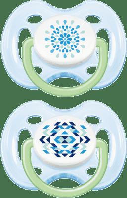 AVENT Cumlík Sensitive Fantazie 2ks (silikón) 0-6 m, modrý