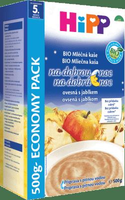HIPP BIO Mliečnoobilninová kaša na dobrú noc jablková s ovsenými vločkami 500 g