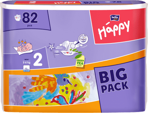 BELLA HAPPY Mini (3-6 kg) Big Pack 82ks - jednorázové pleny