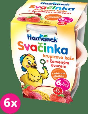 6x HAMÁNEK Svačinka s krupicovou kaší s červeným ovocem (2x130 g) - ovocný příkrm