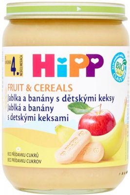 HIPP BIO Jablká a banány s detskými keksami (190 g) - ovocný príkrm
