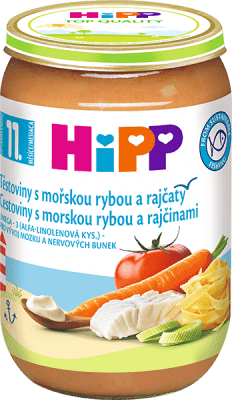 HIPP Jemné cestoviny s morskou rybou a rajčinami 220 g - mäsovo-zeleninový príkrm