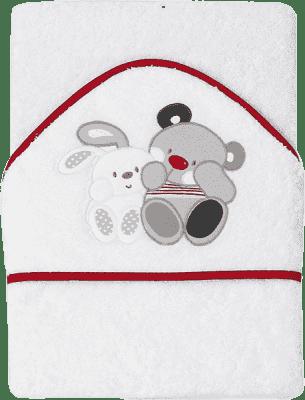 INTERBABY osuška detská froté 100x100 medvedík s zajačikom priatelia - biela červený lem