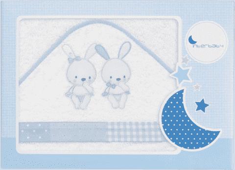 INTERBABY Ręcznik dla dziecka frotte 100x100 trzej przyjaciele – biało-niebieski