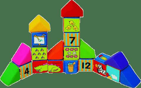 K´S KIDS Sada veselých látkových kosatiek, 12 kociek a 8 trojuholníkov